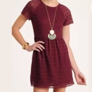 Free People Lace Candy Woven Dress Burgundy